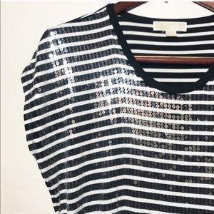 Michael Kors Tops - Michael Kors Black & White Striped Sequin Tee